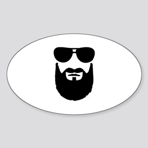 Full beard sunglasses Sticker (Oval)